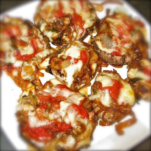 Mushrooms stuffed with caramelized onions, pablano chilies, garlic, gruyère cheese, and touch of sauce