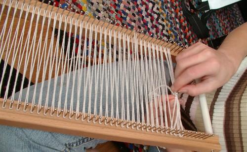 warped loom crocheting header
