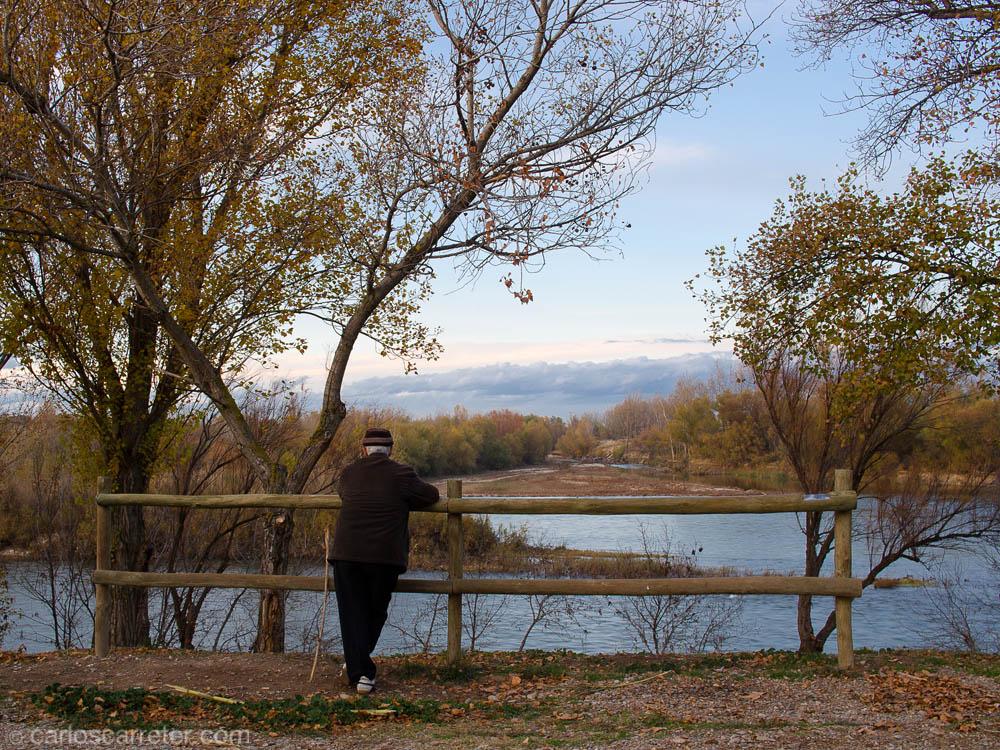 Mirando hacia la desembocadura del Río Gállego