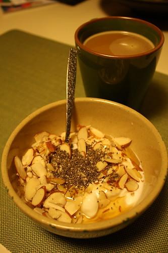 yogurt with chia seeds, almonds and honey