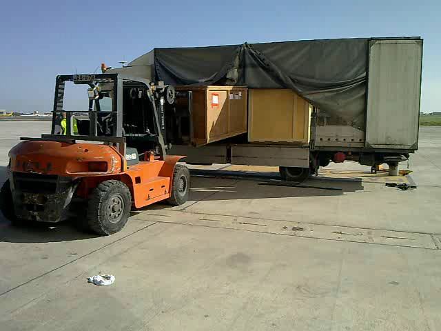 Unloading Aircraft spares for the AOG at Luqa Airport, Malta