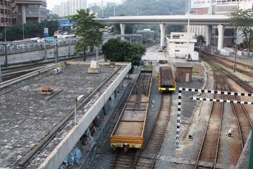 Rail flat wagons at Hung Hom yard