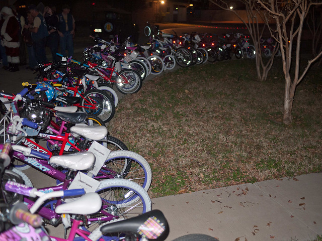 kids bikes lined up in semicircle