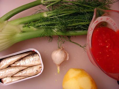 sardines, fennel, tomato