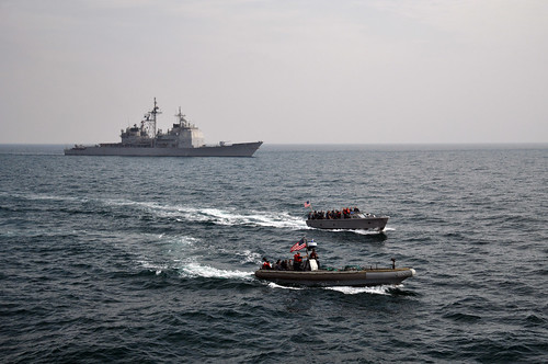 Sailors take part in a crew member exchange.