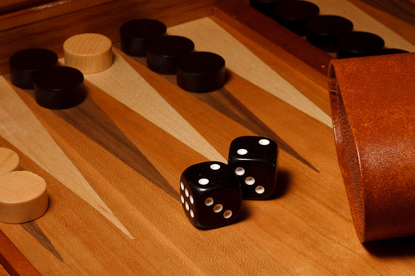 A roll of doubles on a backgammon board