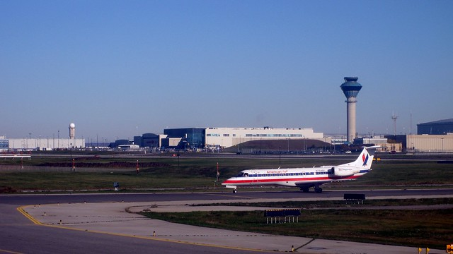 American Airlines Regional Jet ready for takeoff, Toronto Pearson International Airport