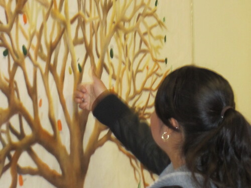Student adding a leaf to the Identity Tree