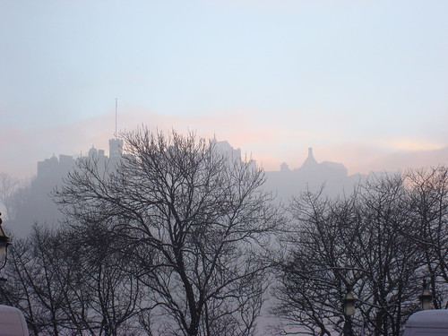 Edinburgh Castle in the misty snow