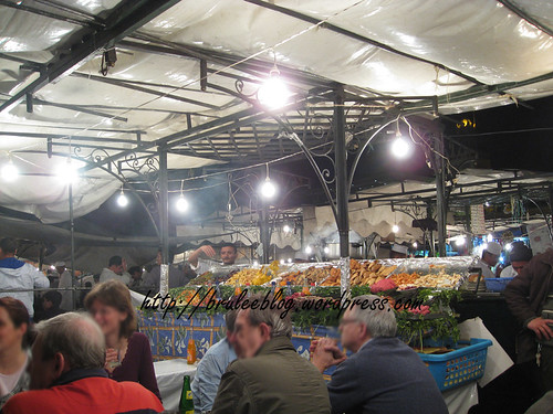 stall with seafood and other items
