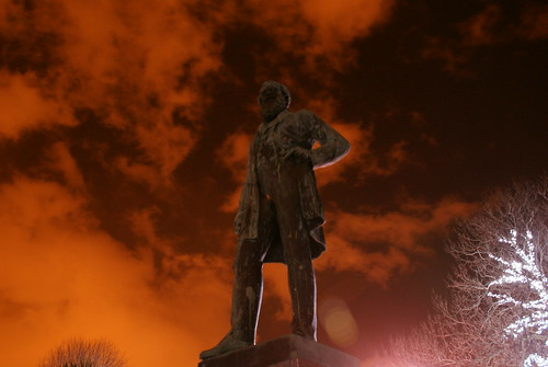 Statue with orange hue in Mowbray Park - Sunderland