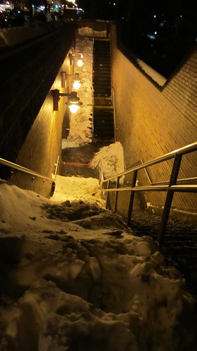 snow slide to subway, central park