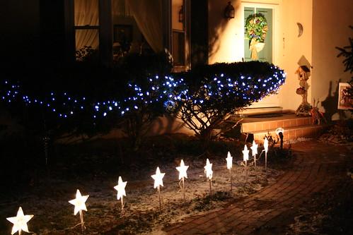 Star lights line the walkway