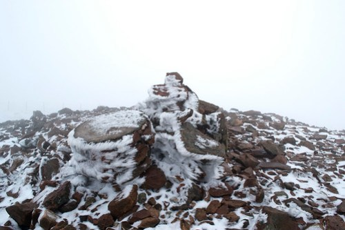 Iced up cairn