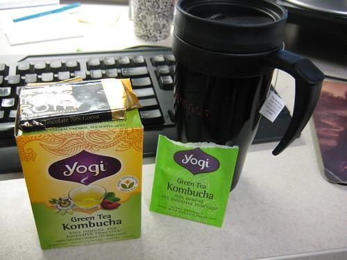 yogi green tea kombucha; dark chocolate