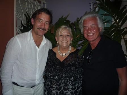 Clive Owen, Silvia Cardoso and Jimmy Page at La Casa restaurant