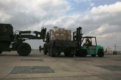 Relief supplies being unloaded