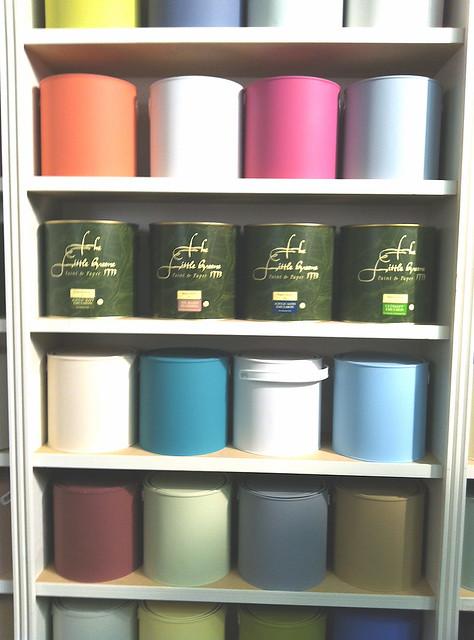 coloured paint tins