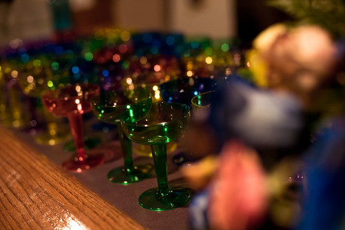 Rainbow champagne glasses