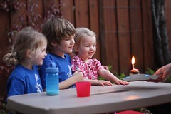 Claire, Harrison and Juliet with a birthday cupcake