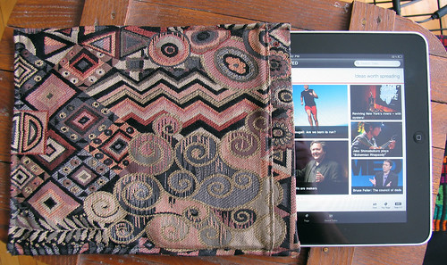 iPad Case created from Upcycled Klimt Inspired Vintage Parisian Skirt
