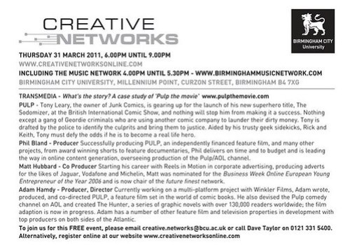 Creative Networks 31st March 2011 Birmingham