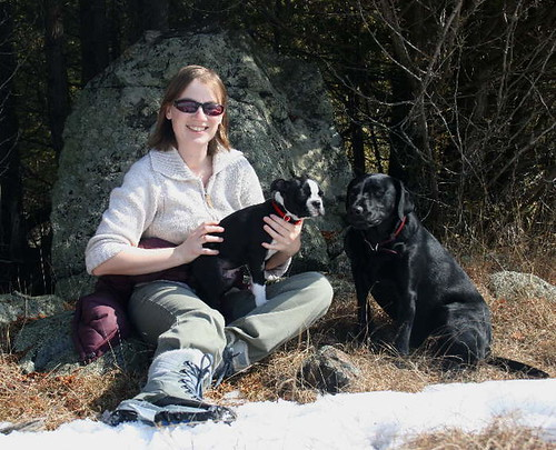 Self-portrait: Me, Jack and Raven on the first warm day of spring