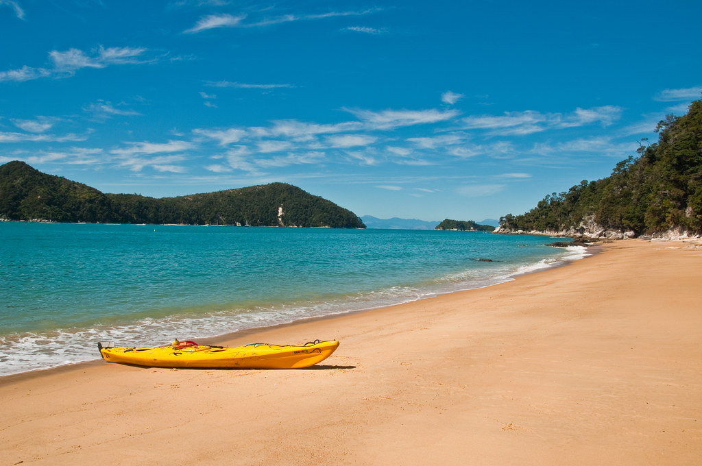 Our kayak on a beach in Abel Tasman National Park