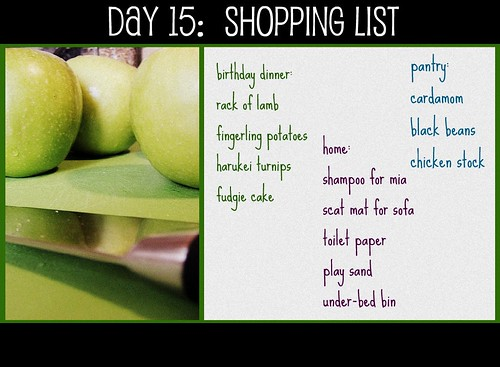 Day 15: Shopping List