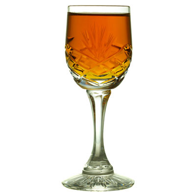 Crystal glass with sherry - backlit