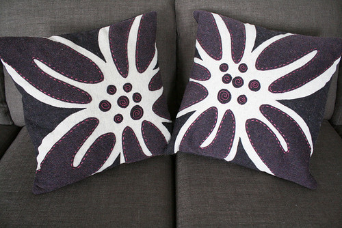 Wool pillow covers with applique