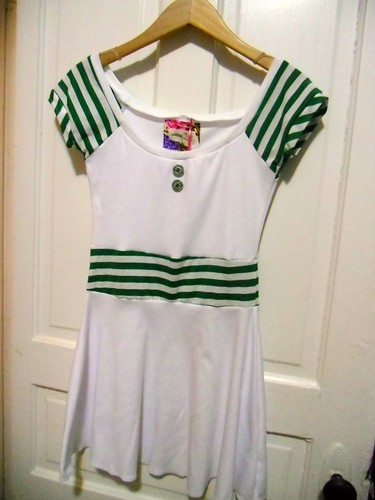 green stripes dress