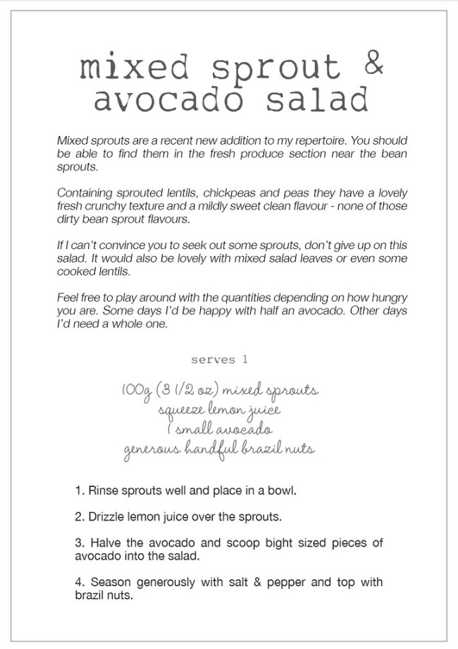 mixed sprout & avocado salad recipe