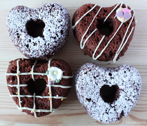 Heart shaped chocolate baked doughnuts