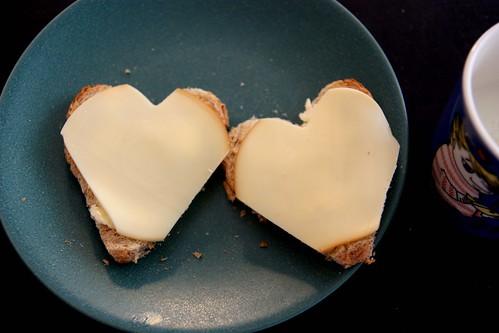 Heart-shaped toast