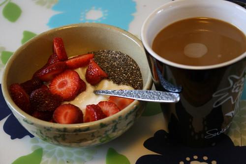 yogurt, strawberries, chia seeds, coffee
