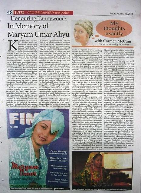 Allah ya jikan Hausa film actress Maryam Umar Aliyu (2/2)