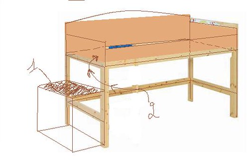 3D sketch of loft bed