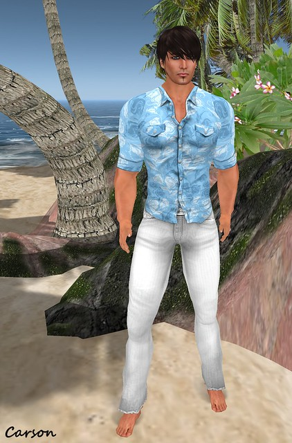 Immerschoen White Clark Jeans and Blue Retro Shirt