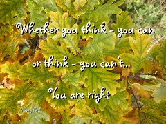 Whether you think you can, or think you can't....