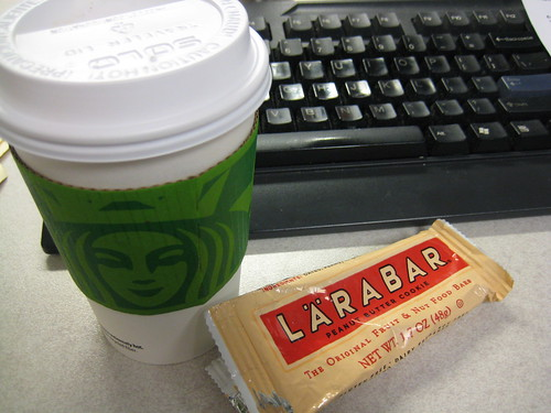 starbucks and peanut butter cookie larabar