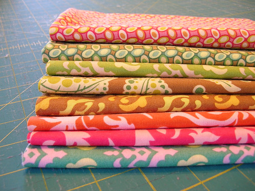 stack of freshcut fabric