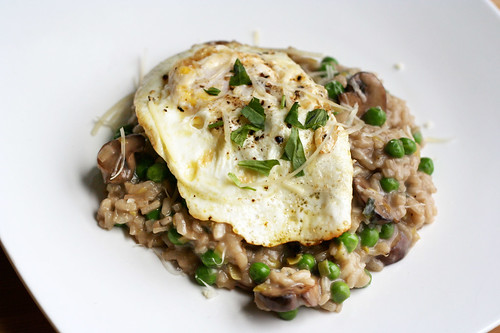Spring Mushroom Risotto with Leeks and Sweet Peas