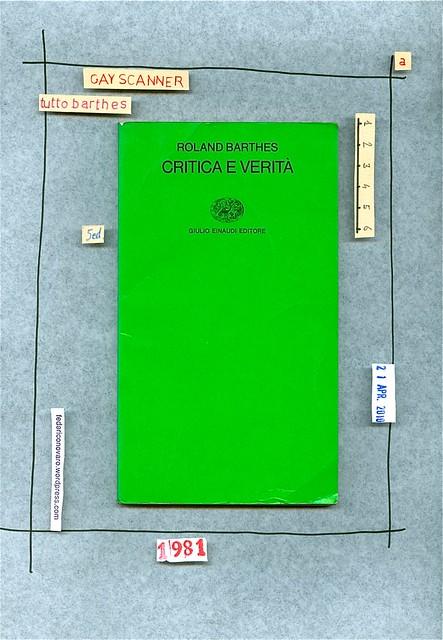 Roland Barthes, Critica e verità. Einaudi 1990. copertina