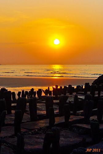 Soleil couchant sur mer / Sunset Over Sea