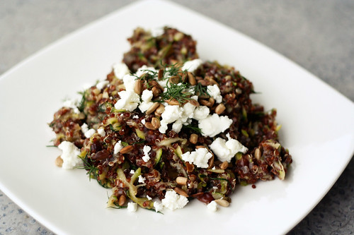 Red Quinoa Salad with Currants, Dill, Zucchini and Sunflower Seeds