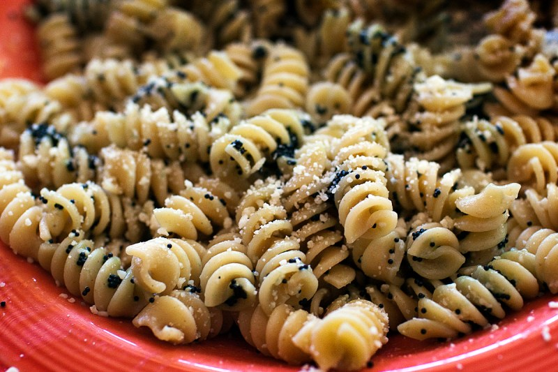 rotini pasta with caviar and parmesan; food photography by Jackie Alpers