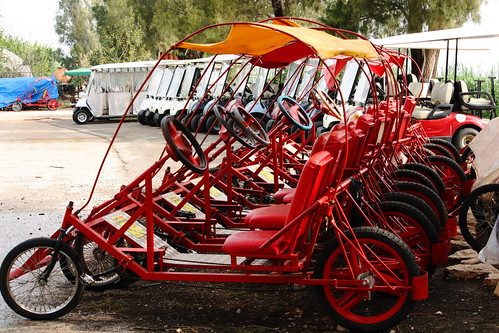Red bicycle carts