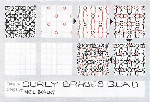 Curly Braces Quad - tangle pattern by perfectly4med