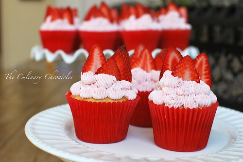 Strawberry Cupcakes with Strawberry Swiss Meringue Buttercream